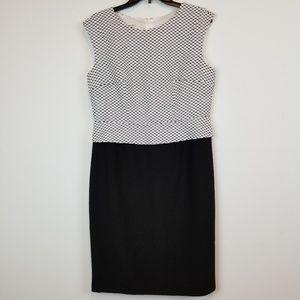 Kasper peplum style black/white dress size 12